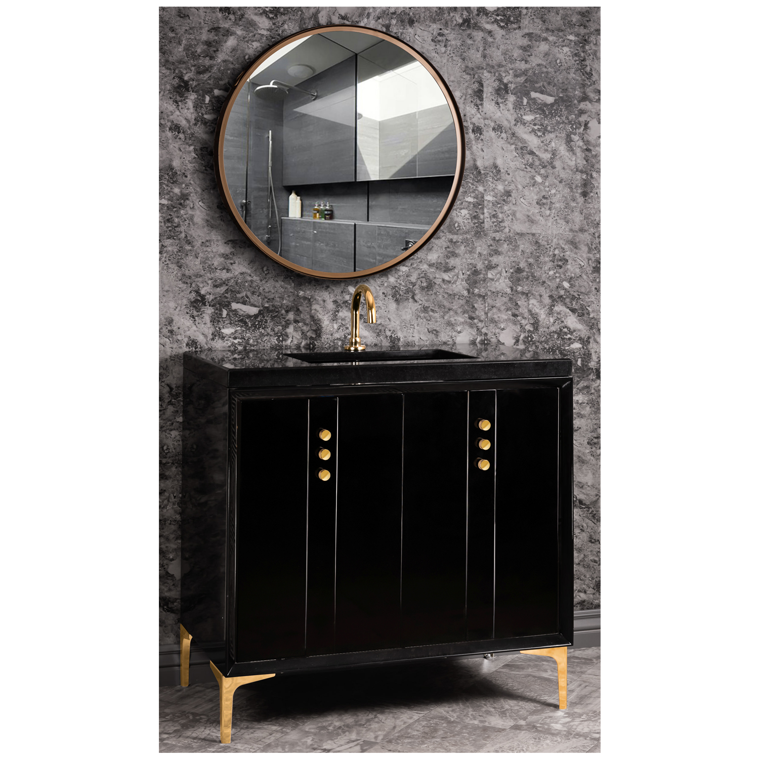 "VAN36B-009 36"" Black Tuxedo With Buttons - Shown with PB (Polished Brass)"