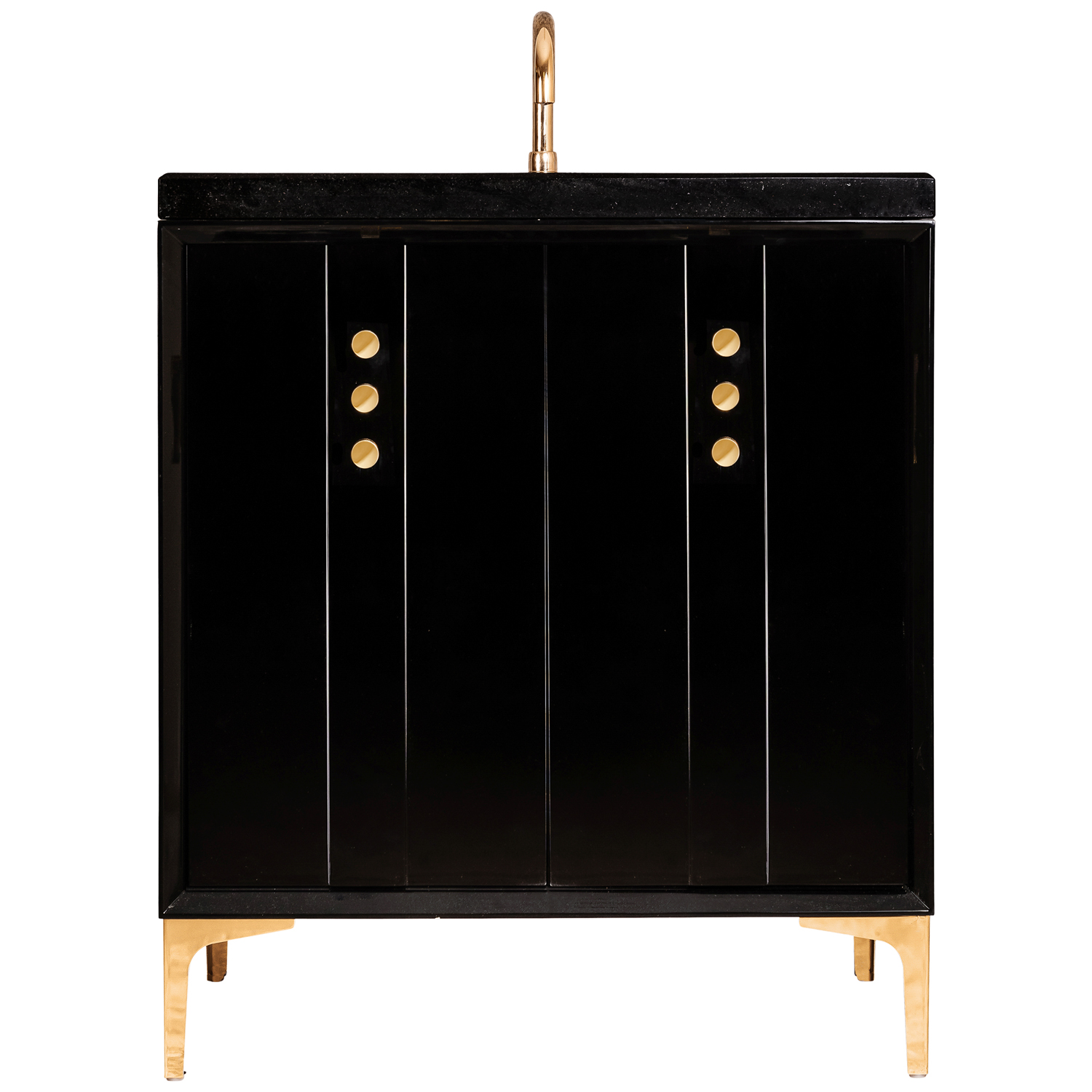 "VAN30B-009 30"" Black Tuxedo With Buttons - Shown with PB (Polished Brass)"