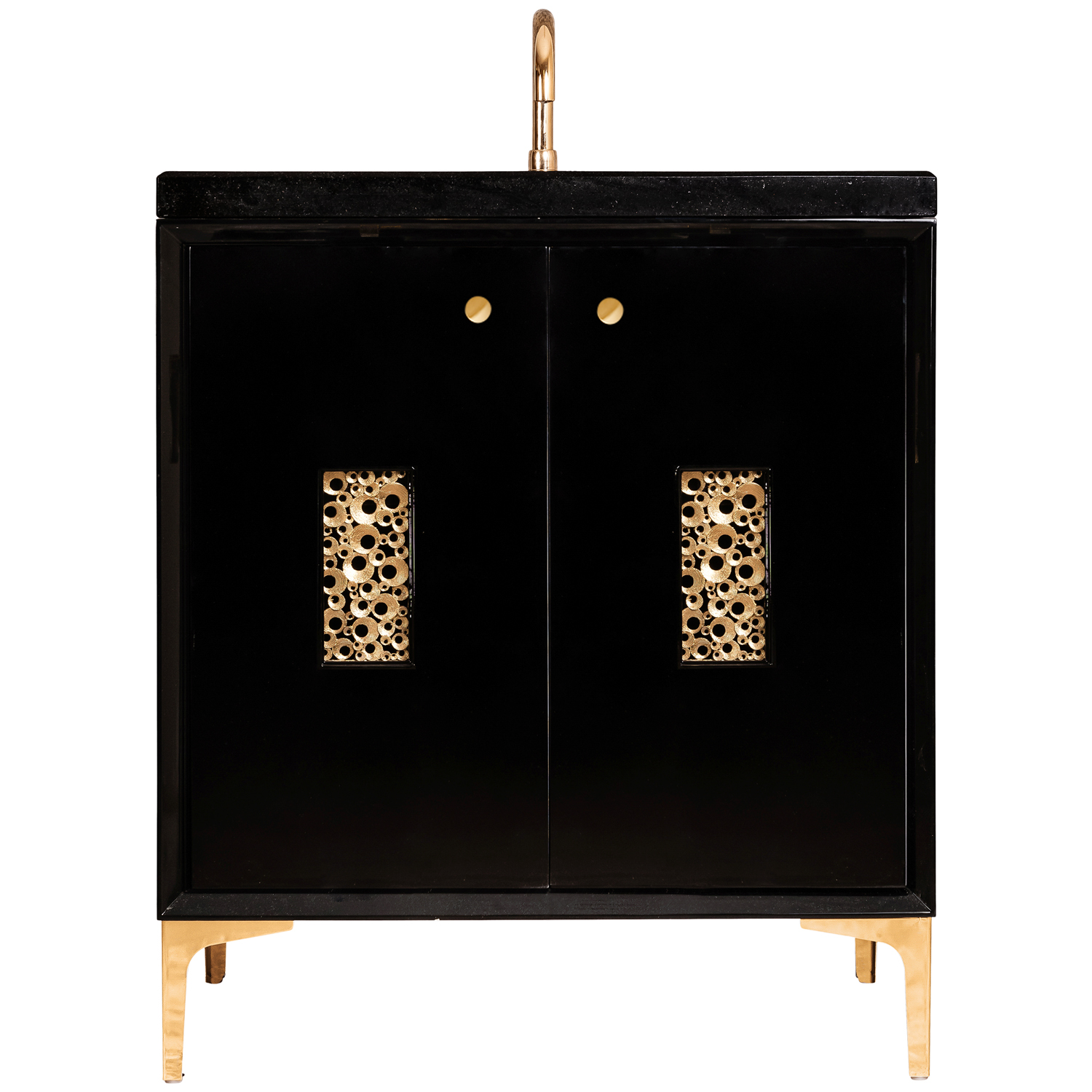 """VAN30B-0010 30"""" Black Frame With Coral - Shown with PB (Polished Brass)"""