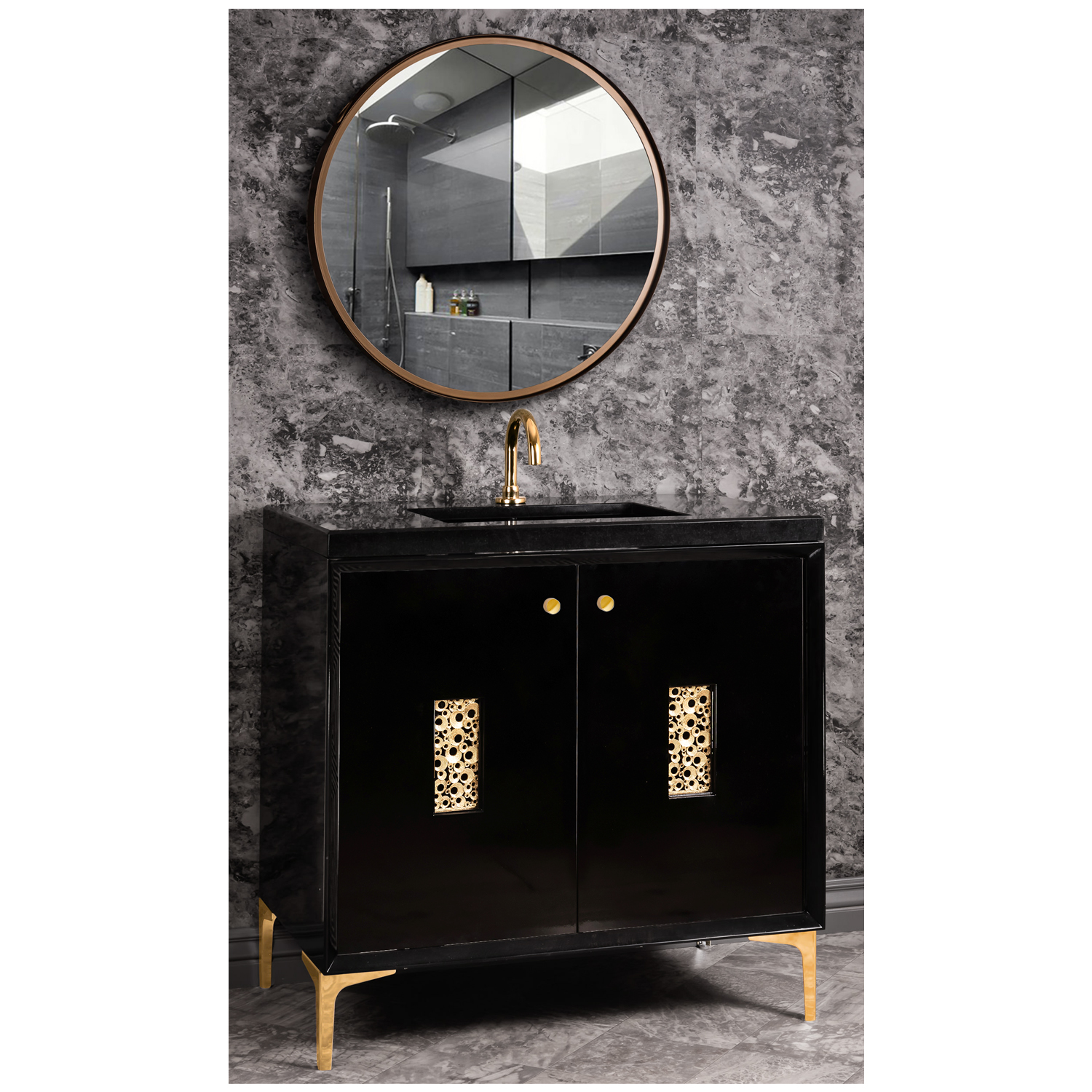 """VAN36B-0010 36"""" Black Frame With Coral - Shown with PB (Polished Brass)"""