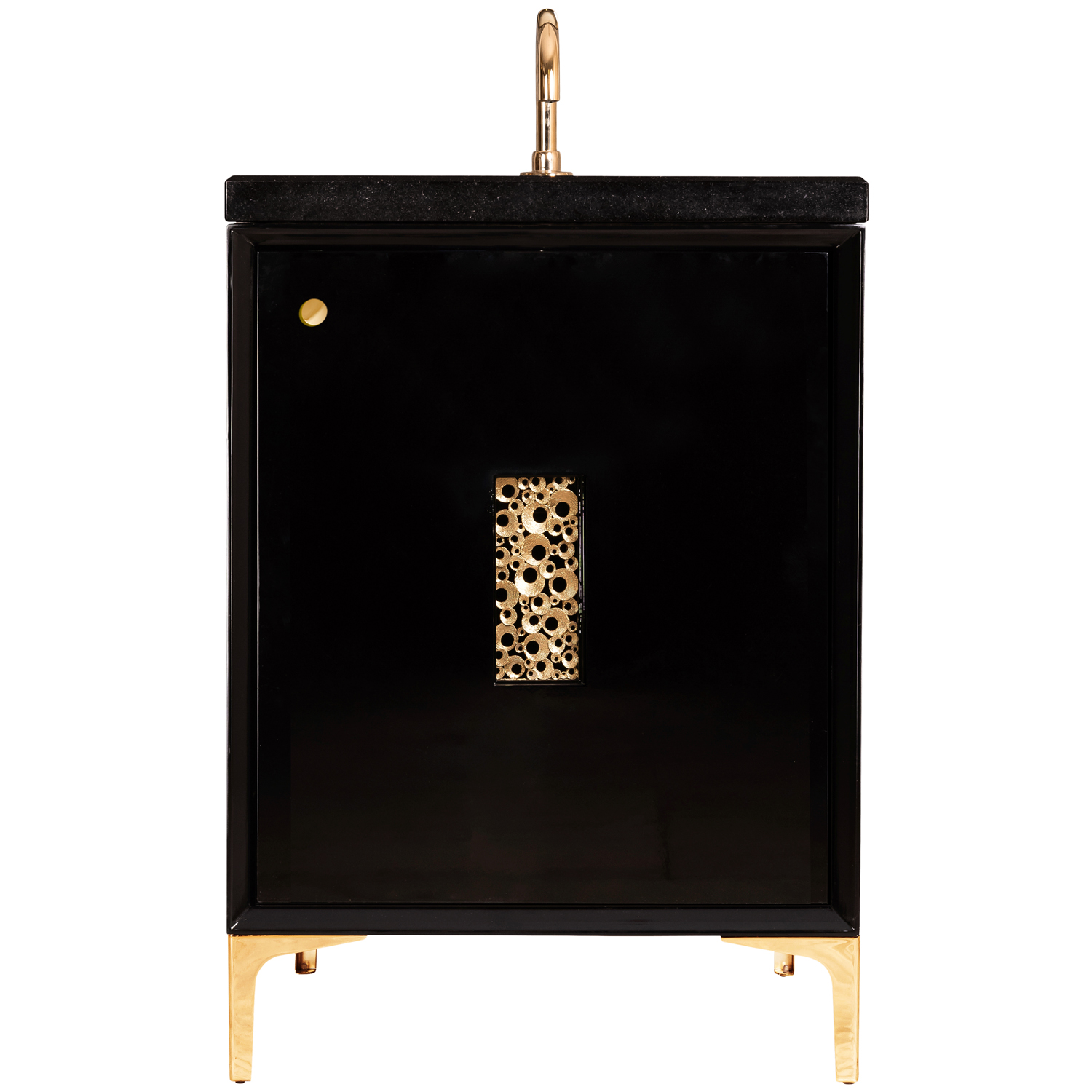 """VAN24B-0010 24"""" Black Frame With Coral - Shown with PB (Polished Brass)"""