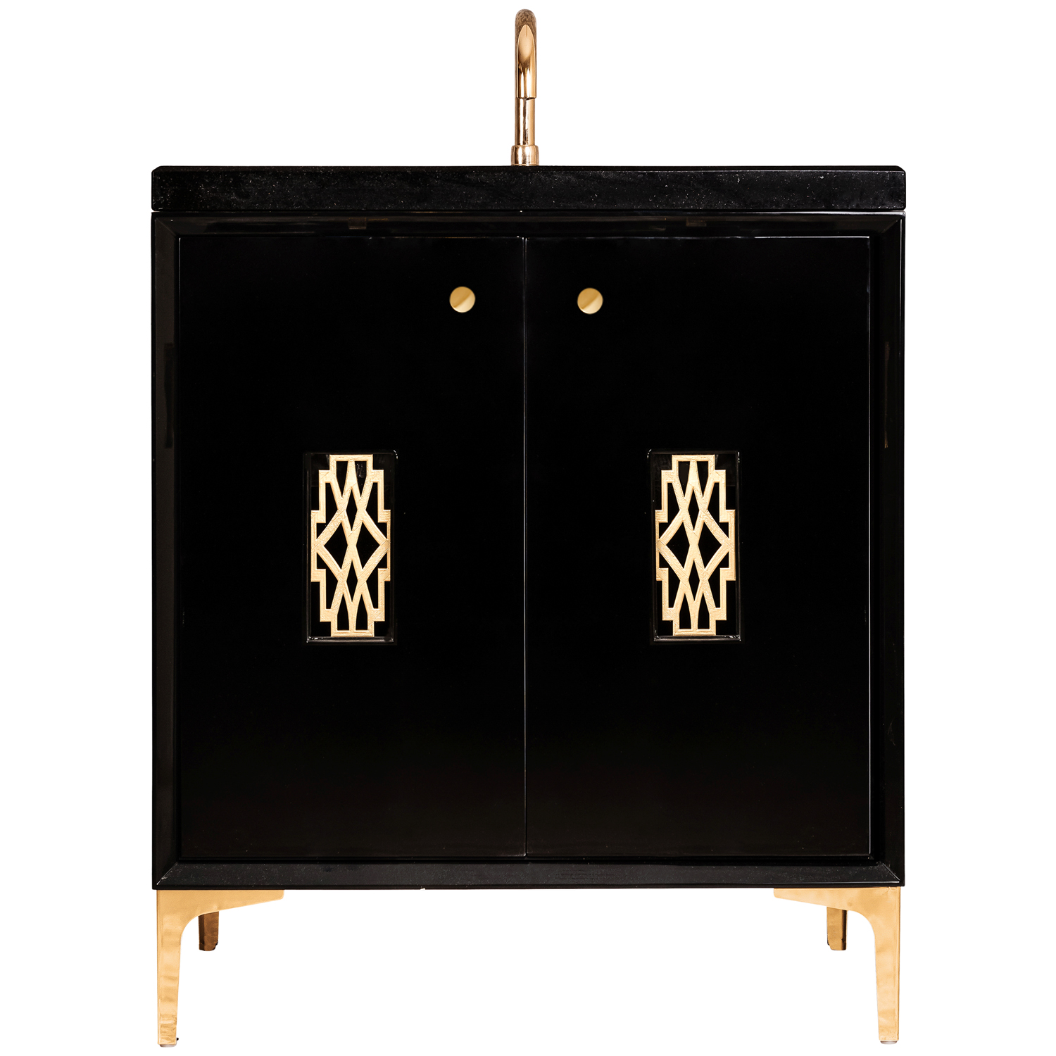 "VAN30B-0011 30"" Black Frame With Deco - Shown with PB (Polished Brass)"