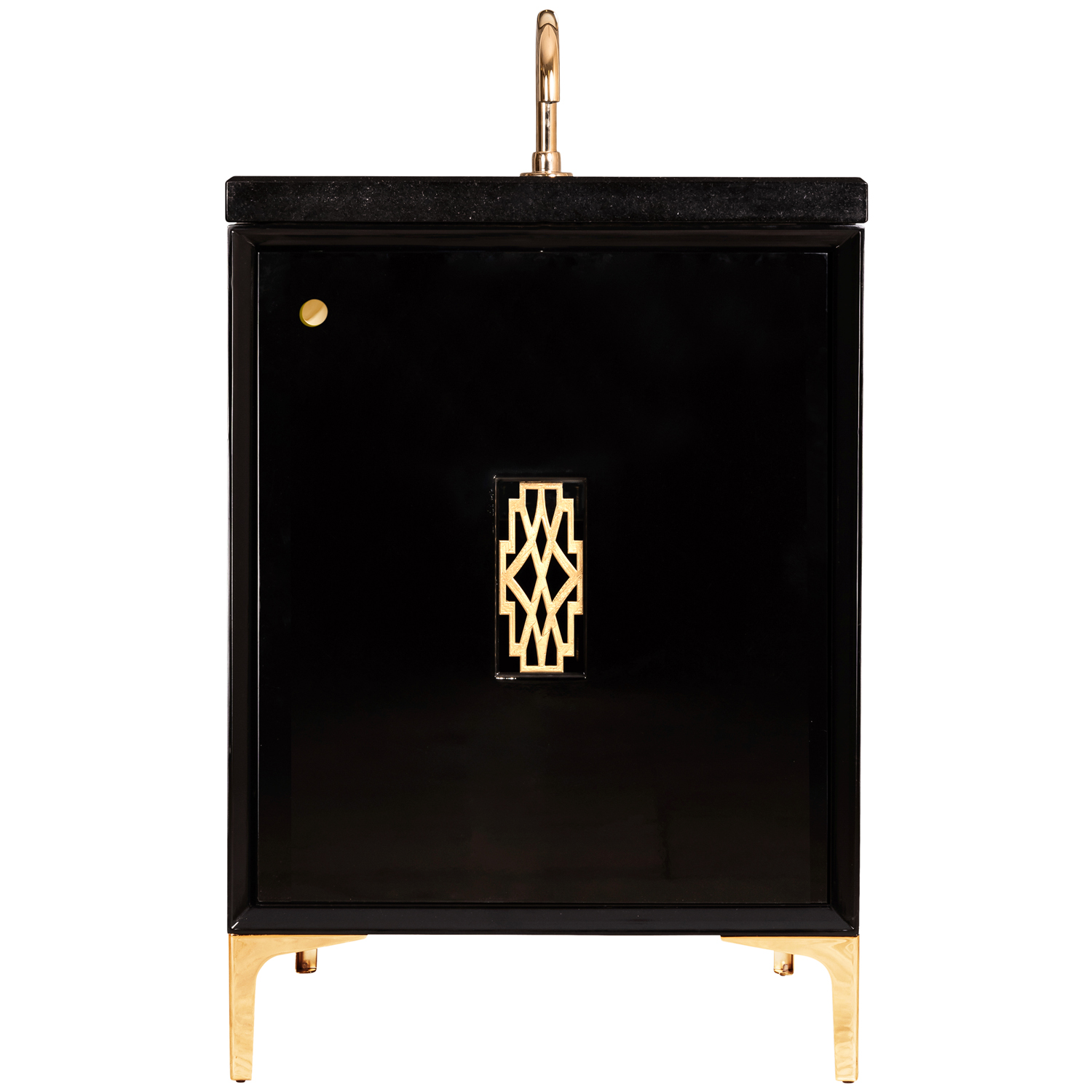 "VAN24B-0011 24"" Black Frame With Deco - Shown with PB (Polished Brass)"