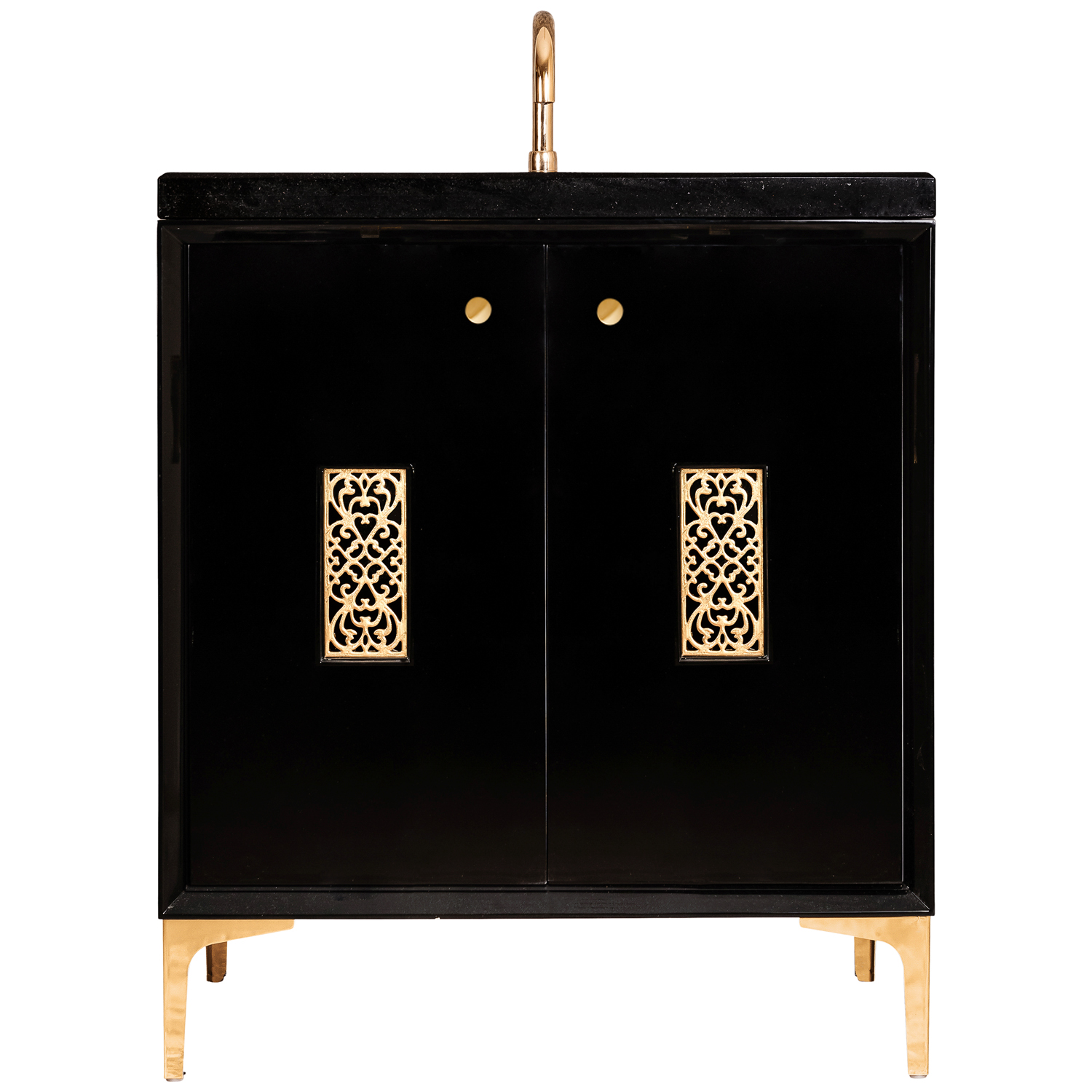 """VAN30B-012 30"""" Black Frame With Filigree - Shown with PB (Polished Brass)"""