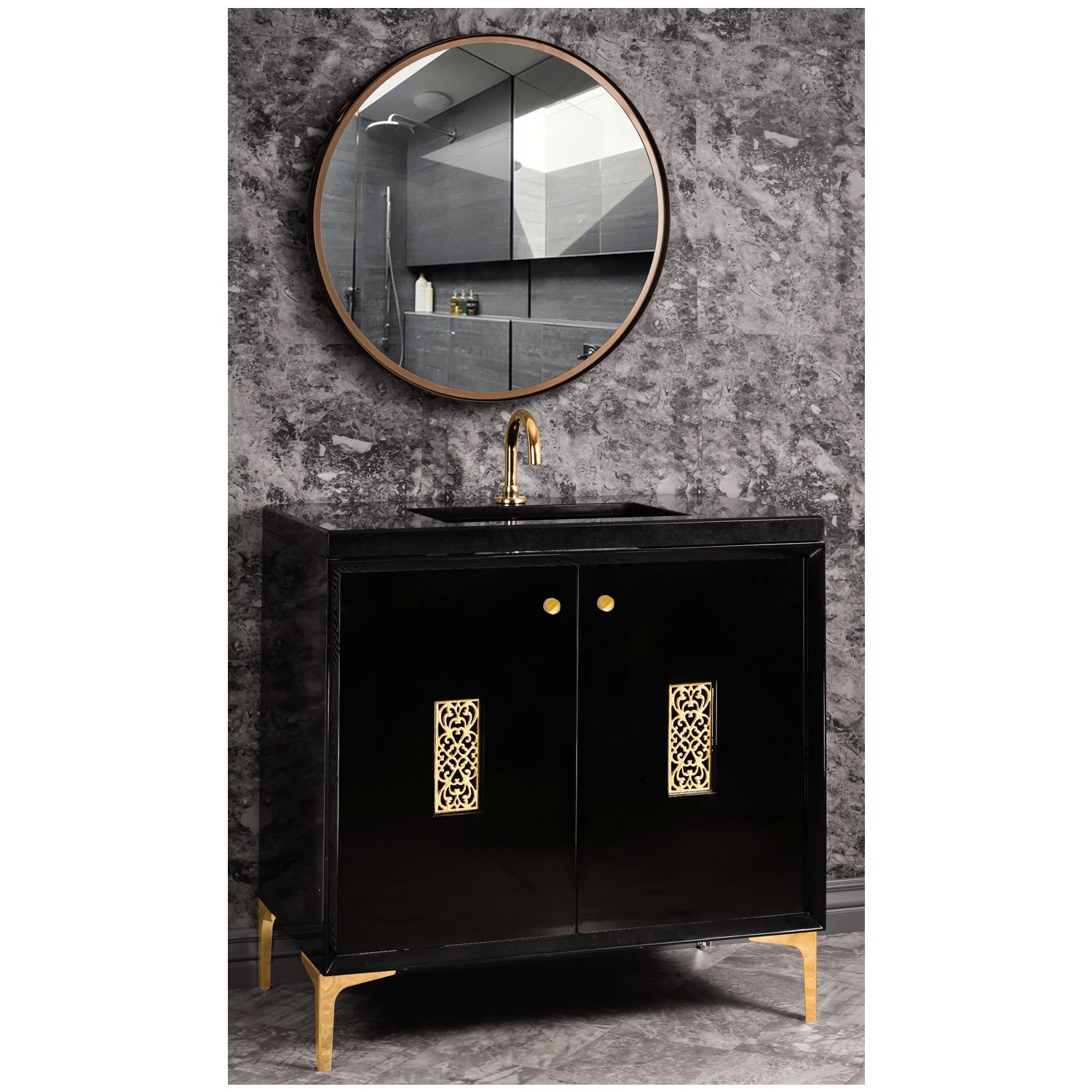 """VAN36B-012 36"""" Black Frame With Filigree - Shown with PB (Polished Brass)"""