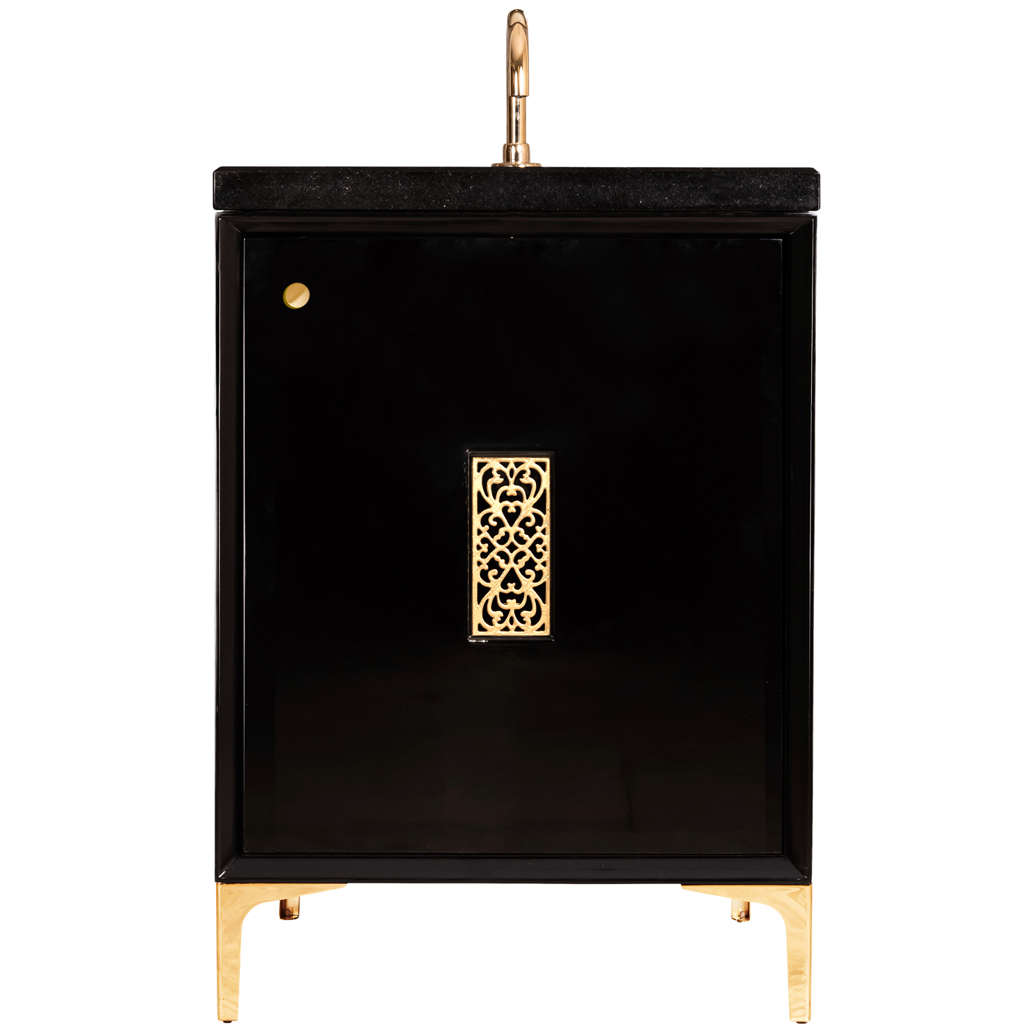 """VAN24B-012 24"""" Black Frame With Filigree - Shown with PB (Polished Brass)"""
