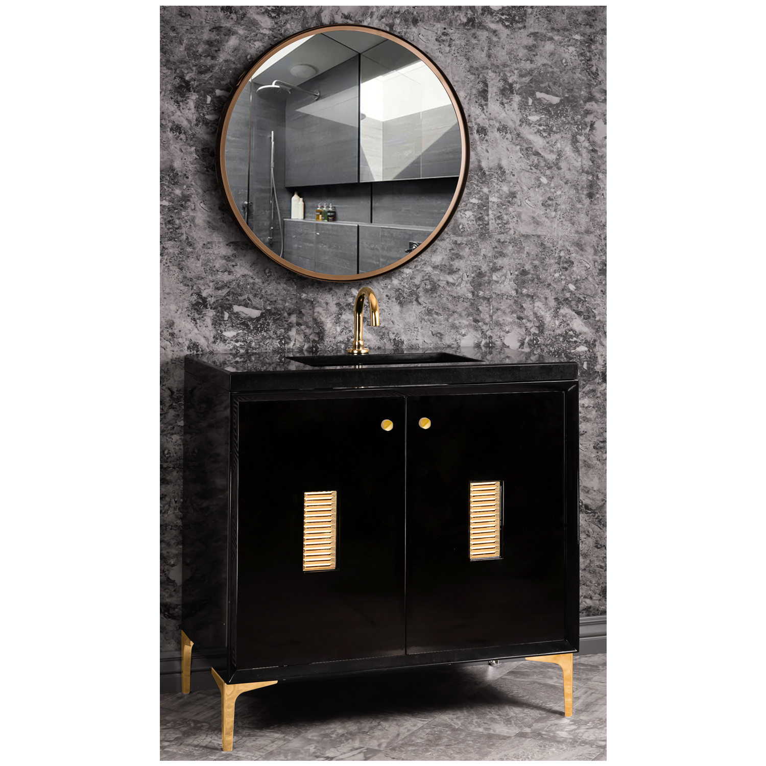 """VAN36B-013 36"""" Black Frame With Louver - Shown with PB (Polished Brass)"""