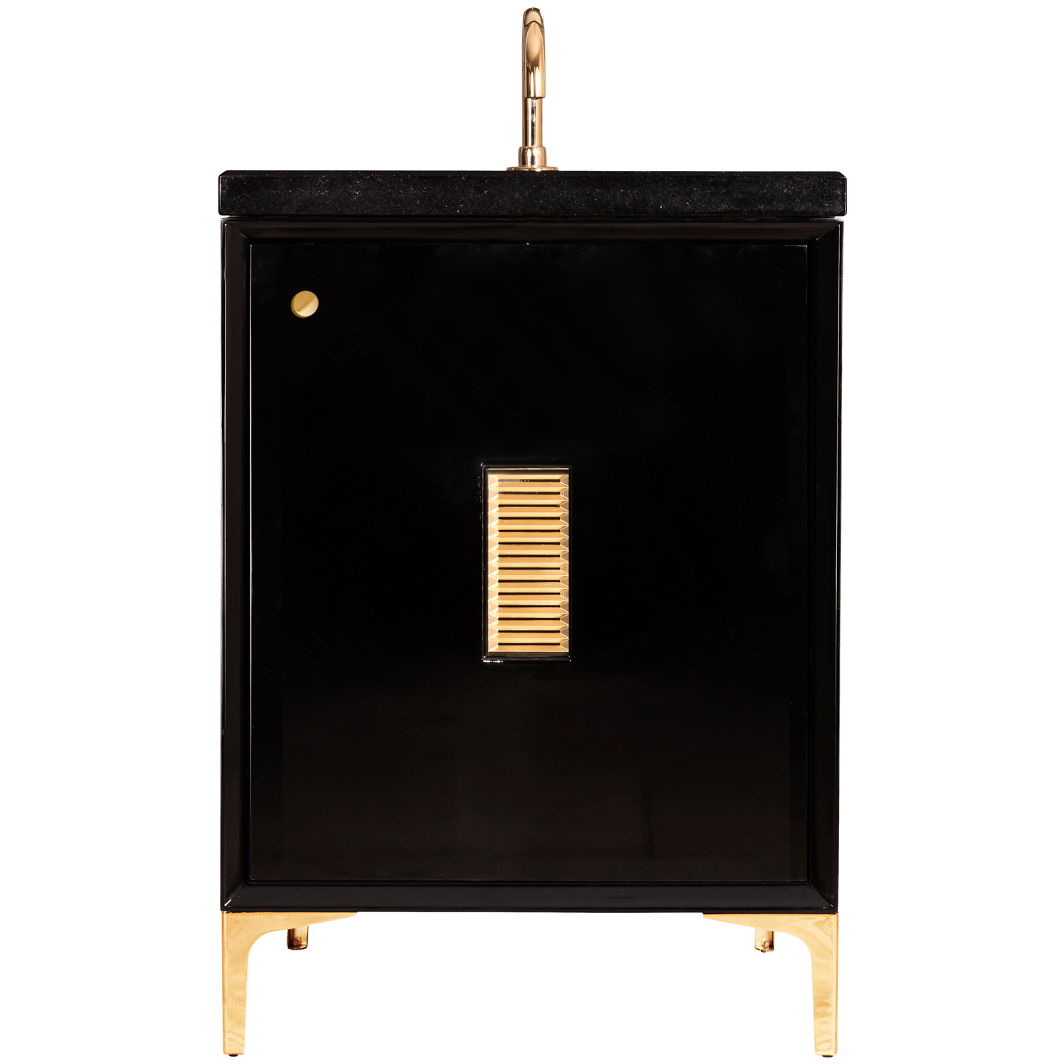 """VAN24B-013 24"""" Black Frame With Louver - Shown with PB (Polished Brass)"""