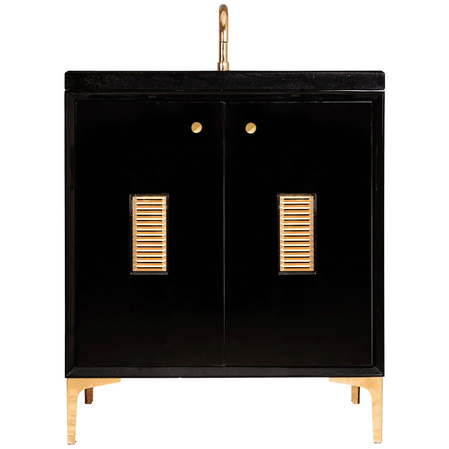 """VAN30B-013 30"""" Black Frame With Louver - Shown with PB (Polished Brass)"""
