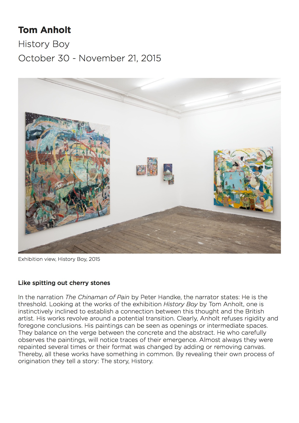 Eigen+Art Press release   Tom Anholt   History Boy 2015