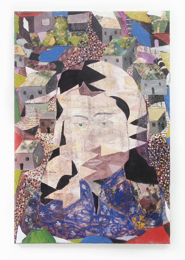 Landowner II, 2017, oil on collaged canvas, 36 x 24 in