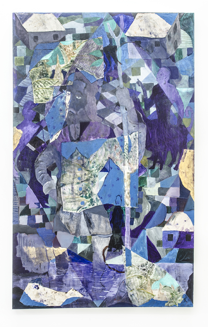 The Pilgrim, 2017, oil on collaged canvas, 60 x 36 in