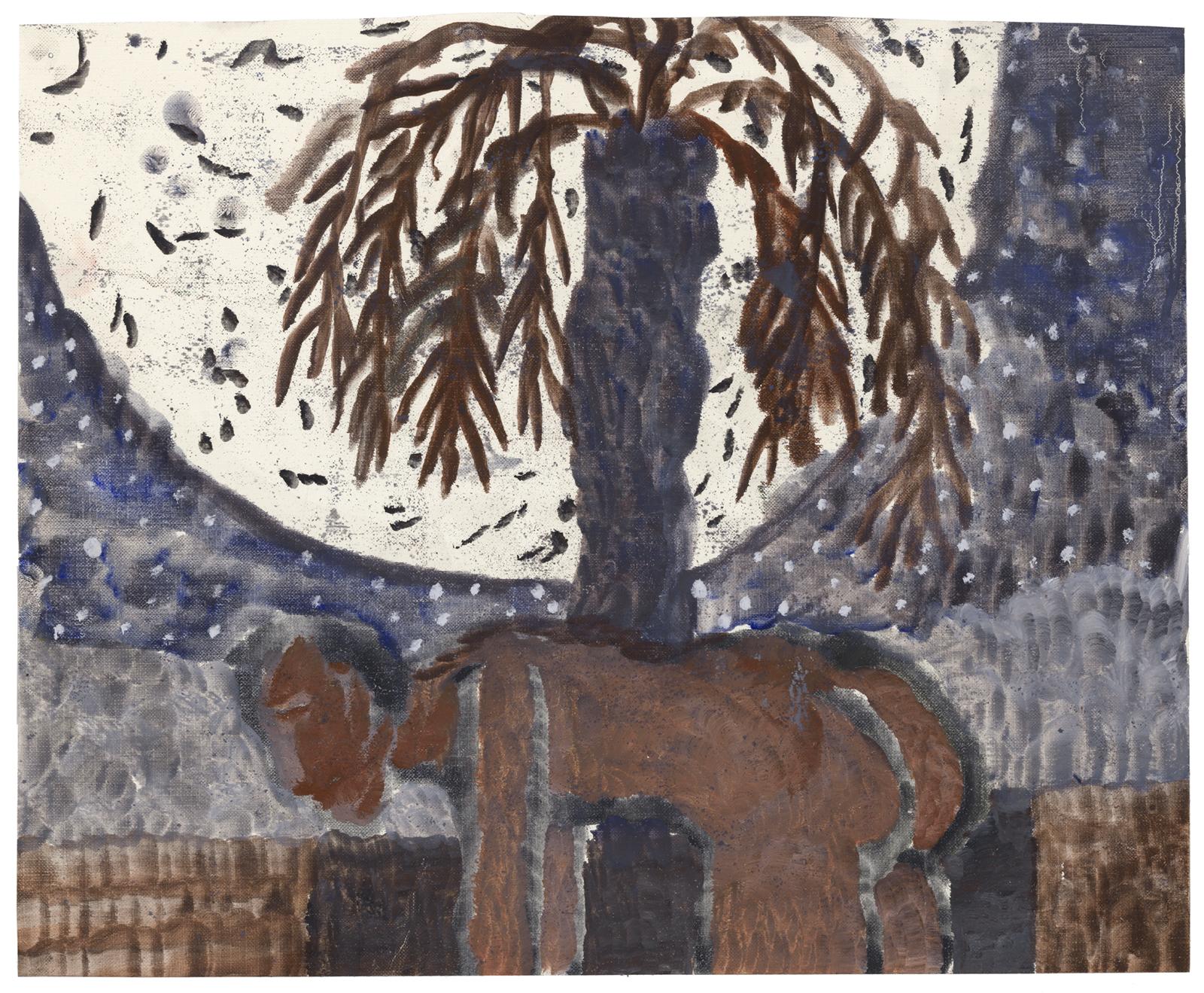 Werewolf, 2017, oil on paper, 12.75 x 16 in