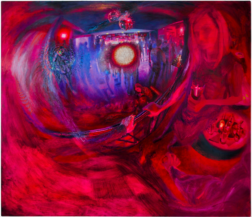 Dylan Vandenhoeck   Bar / Flash / Afterimage , 2018 oil on canvas 72 x 84 inches