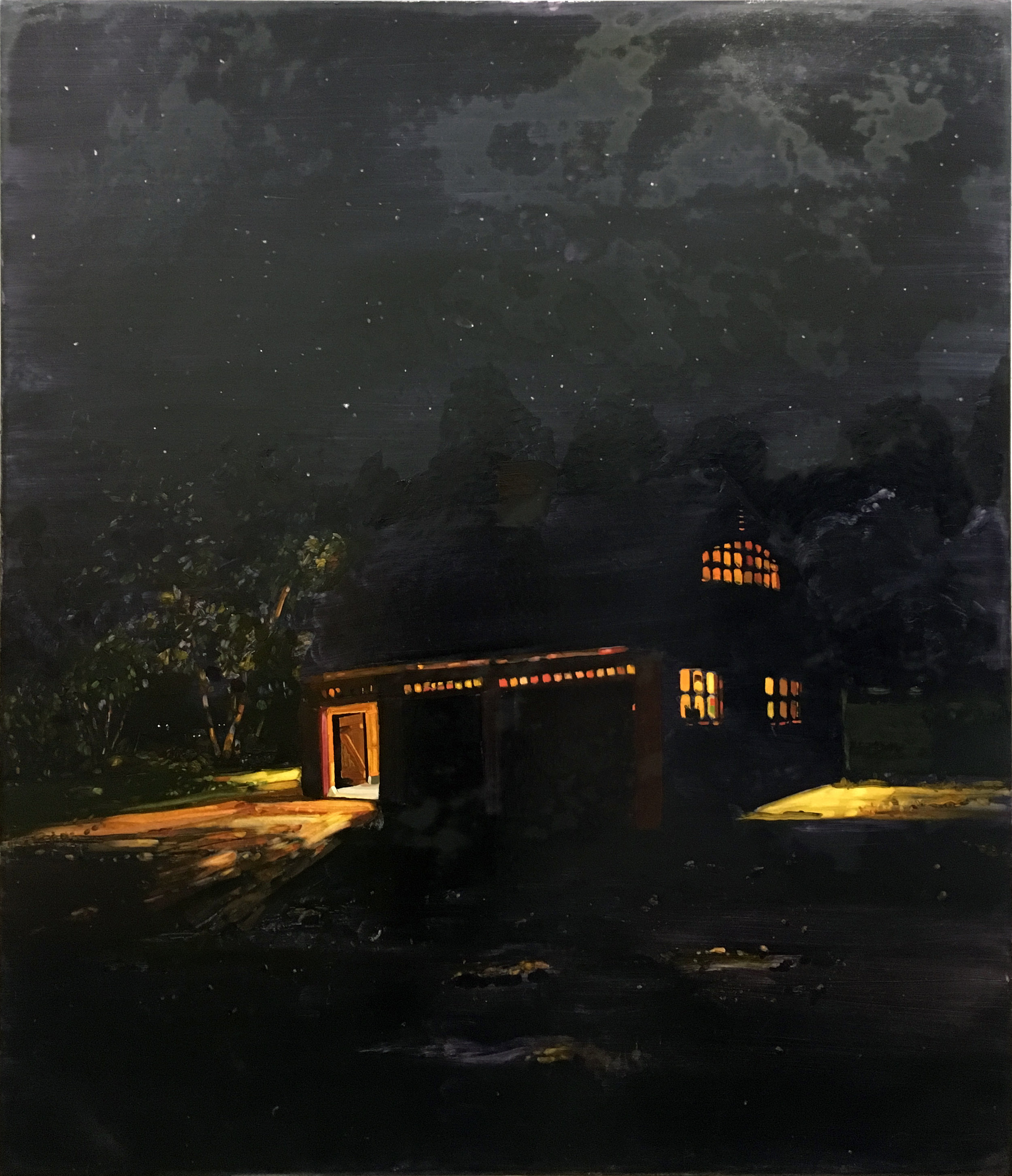 Keiran Brennan Hinton   To be titled (Night Barn) , 2018 oil on canvas 58 x 50 inches