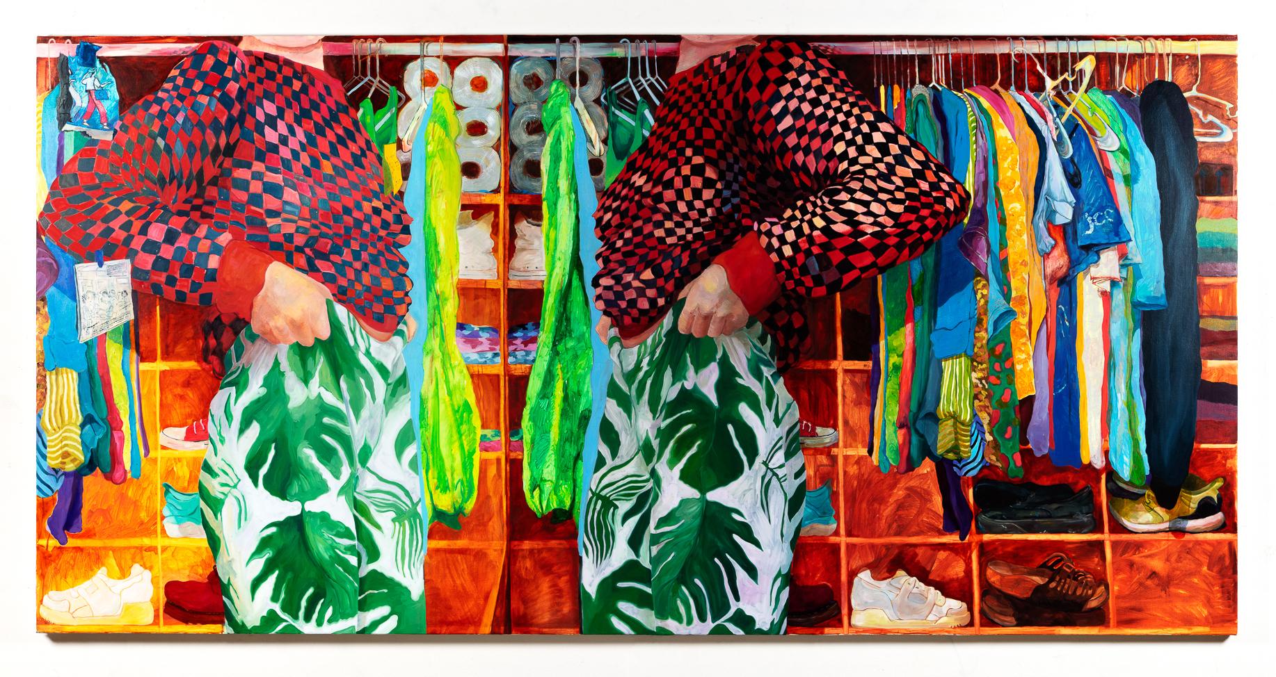 Rebecca Ness,  Closet , 2019, oil on canvas, 60 x 120 inches