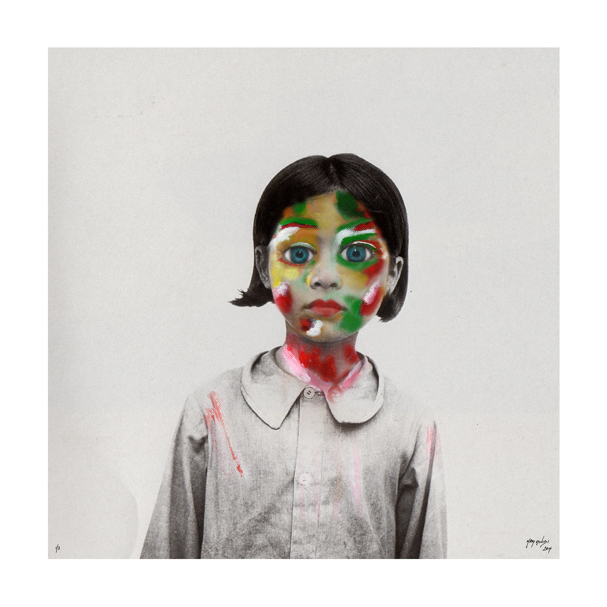 HUMAN SUFFERING AT TIMES OF CRISES Project    Little Girl In White   Human Suffering Series - 2014 edium:Acrylic Paint, Digital Art  (762x 762cm)