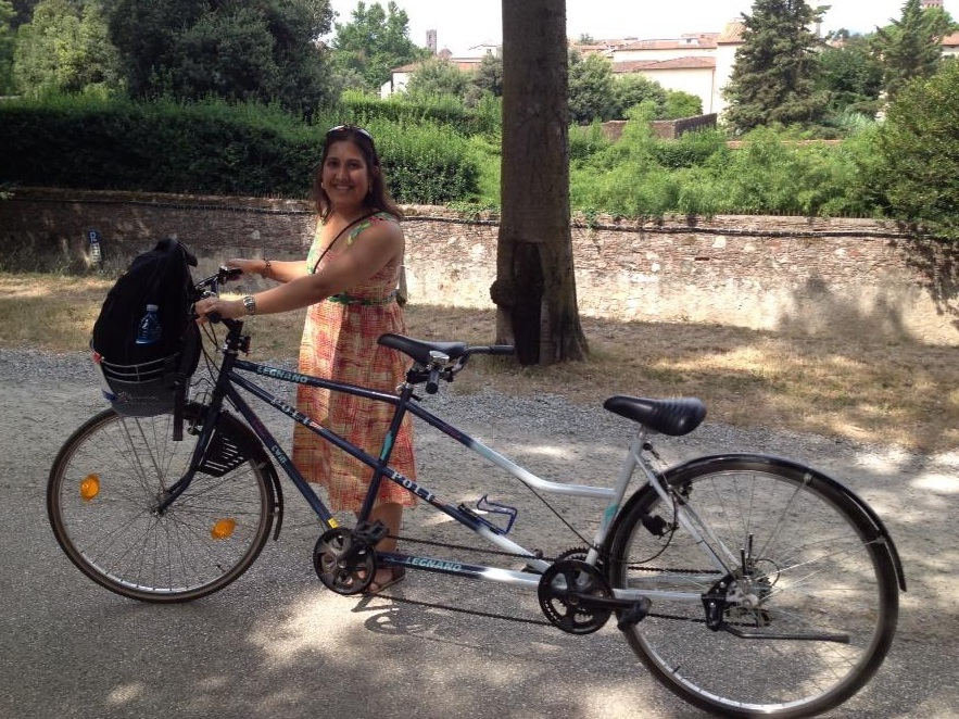 The author in Lucca with her tandem bike.