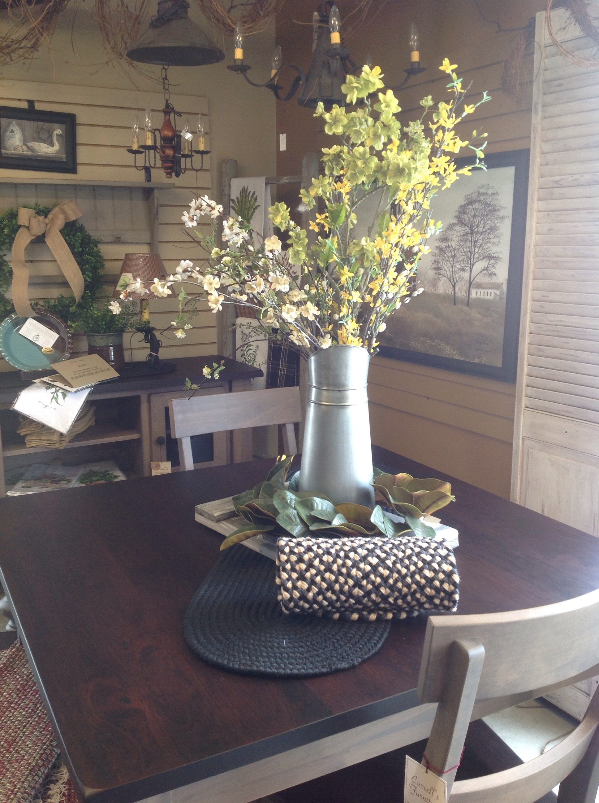 Magnolia wreath and metal containers. Great look
