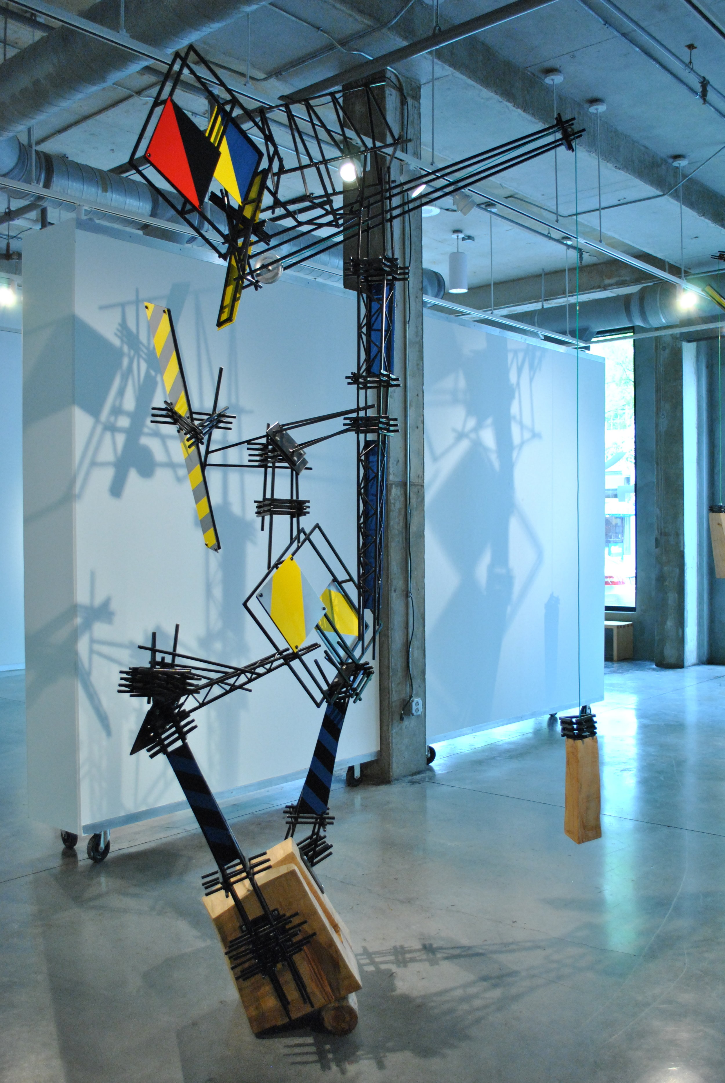Constructed Evolution  Steel, wood, cast aluminum, wire, paint