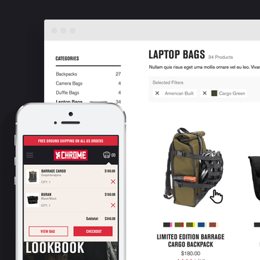 Ecommerce redesign, responsive desktop and mobile device view