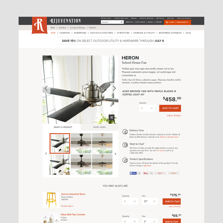Ecommerce product detail page redesign