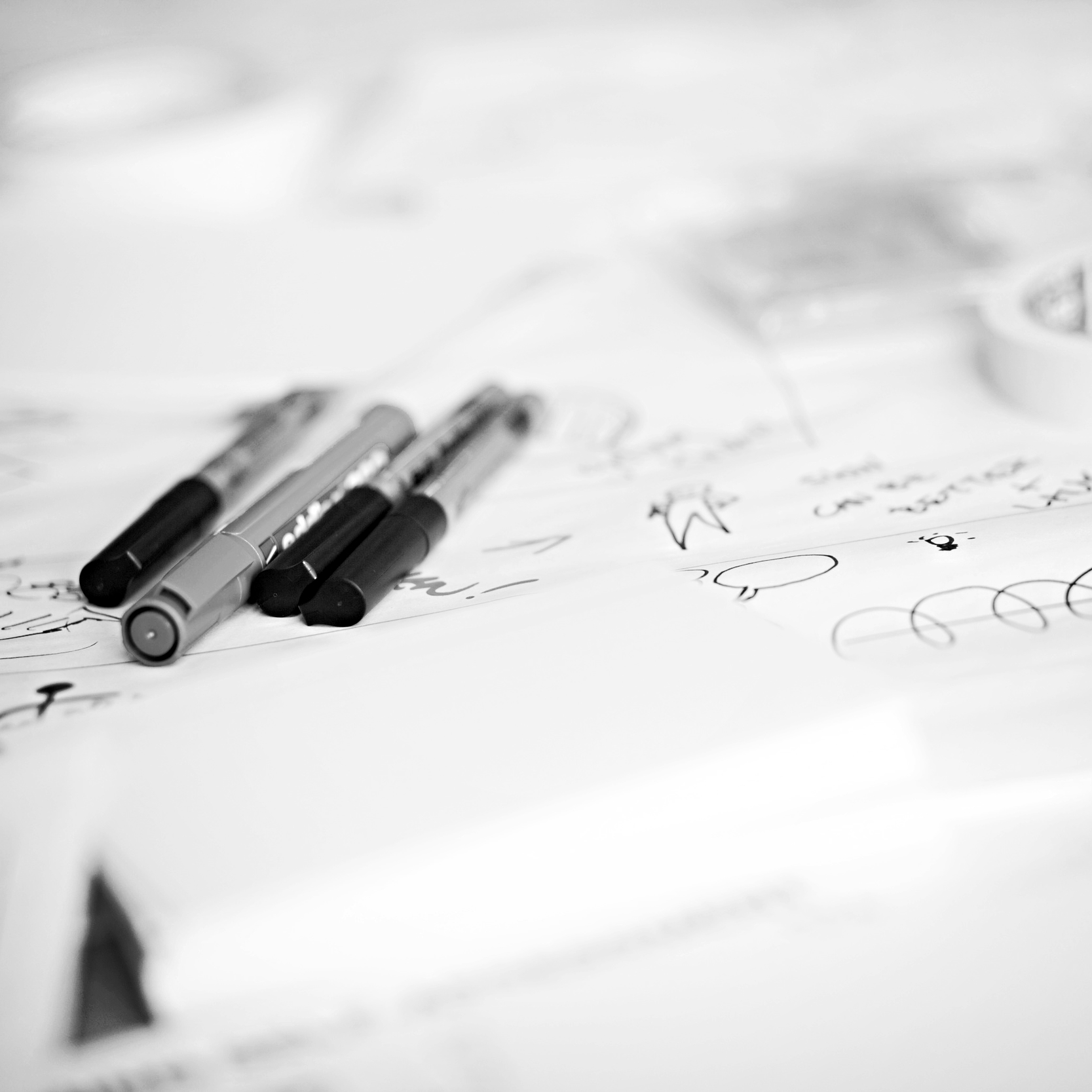 Paper and pens for sketching the customer journey,