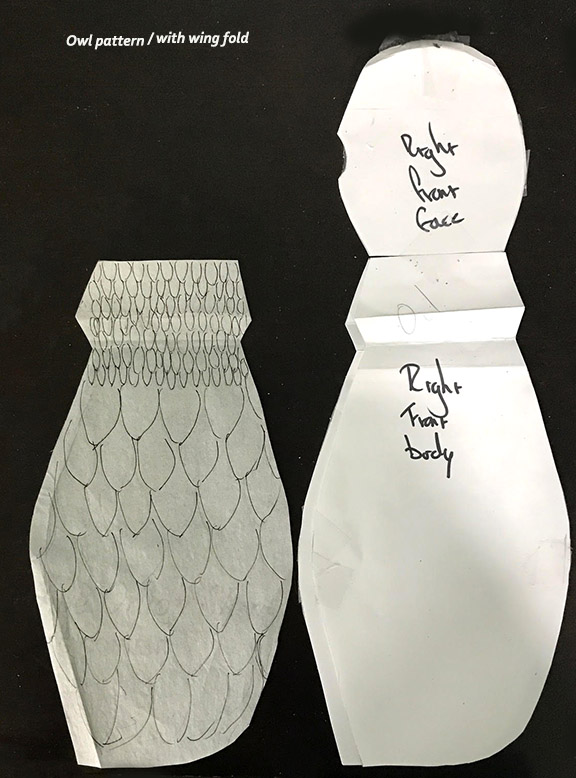 Owl Pattern - note wing fold