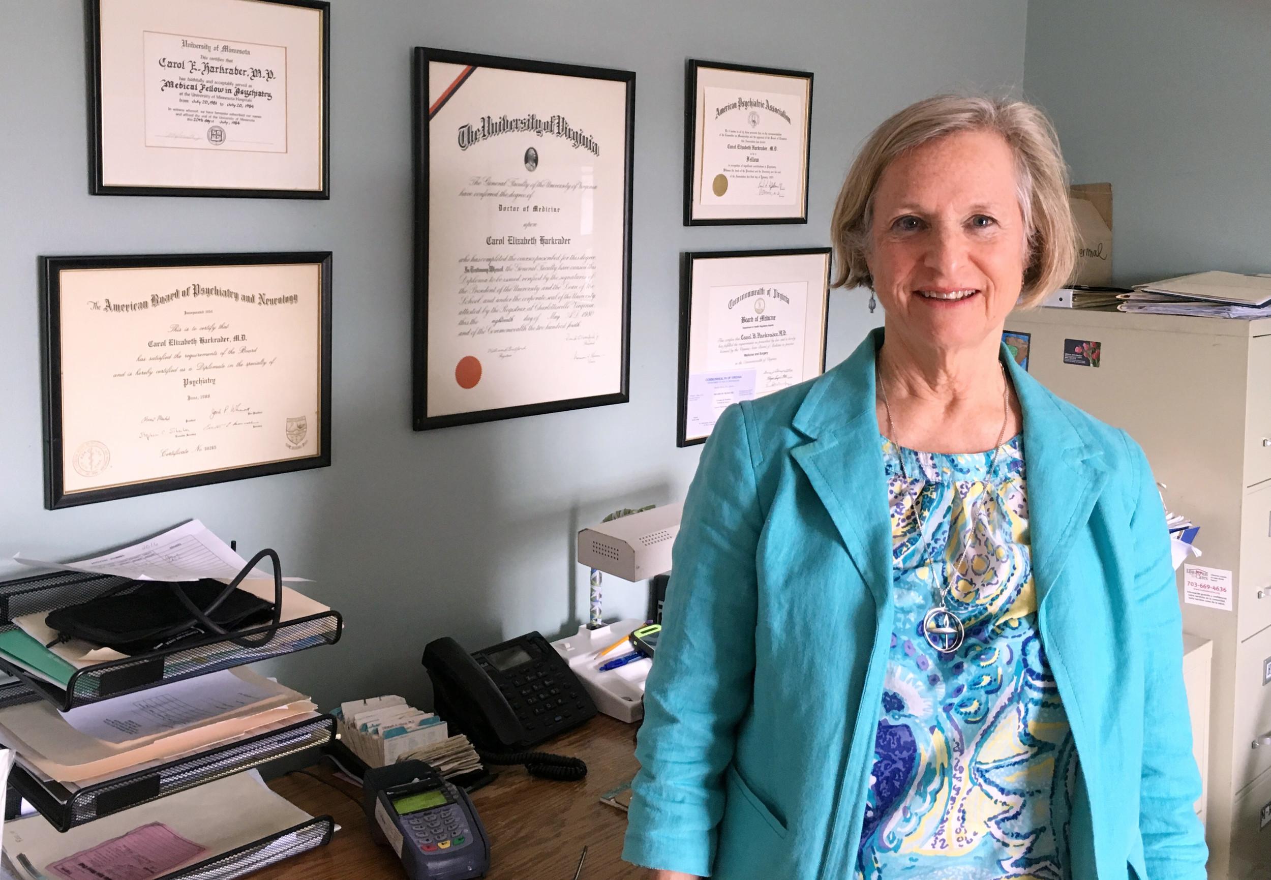 Dr. Carol Harkrader in her Purcellville office.