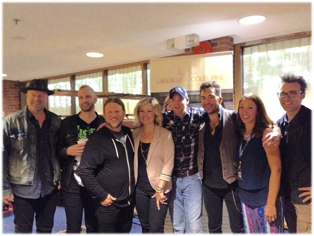 Langille & Colburne pictured with the Boom Chucka Boys and Tristan Horncastle at the CCMA Awards Gift Lounge in September 2015 at Halifax.
