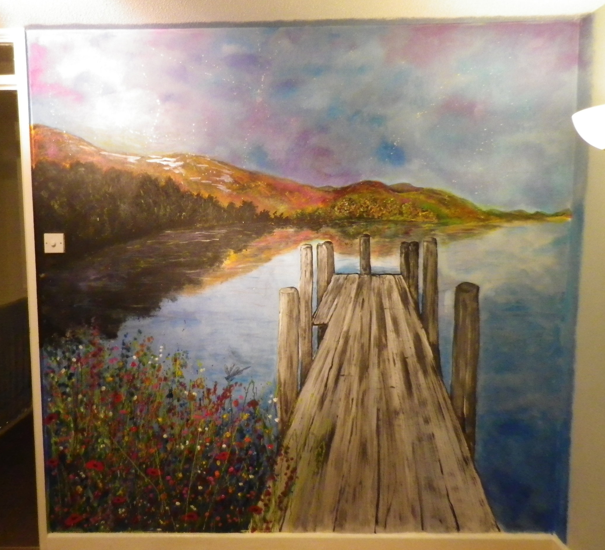 Lake scene wall mural