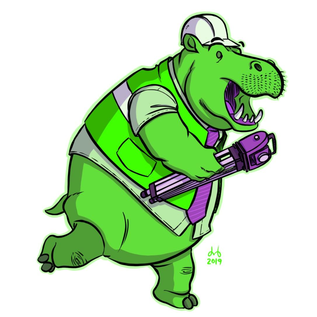 Harlequin Hippopotamus Highway Engineer