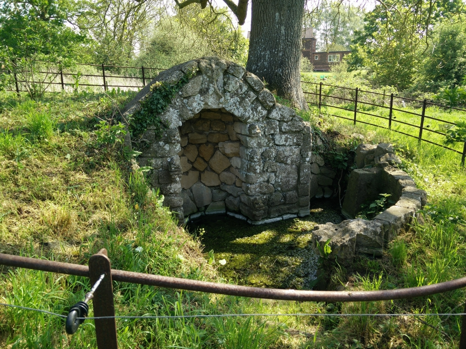 A holy well near to the church, which was on the medieval pilgrimage route to Walsingham