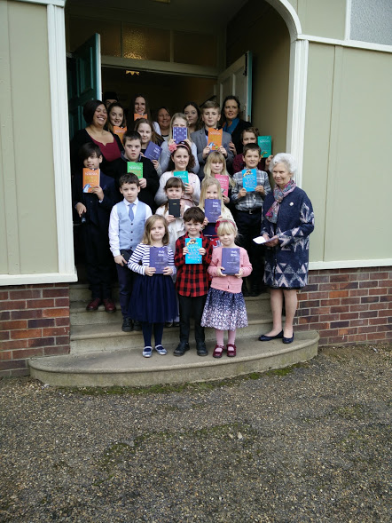On Sunday 5th February, children from the Sunday school and choristers in the Sandringham choir were presented by Her Majesty with prizes for good attendance through out 2016.  It is a very happy event, much anticipated by the children and completed with the Sunday school children performing their annual play. This year it was Jonah and the Whale.