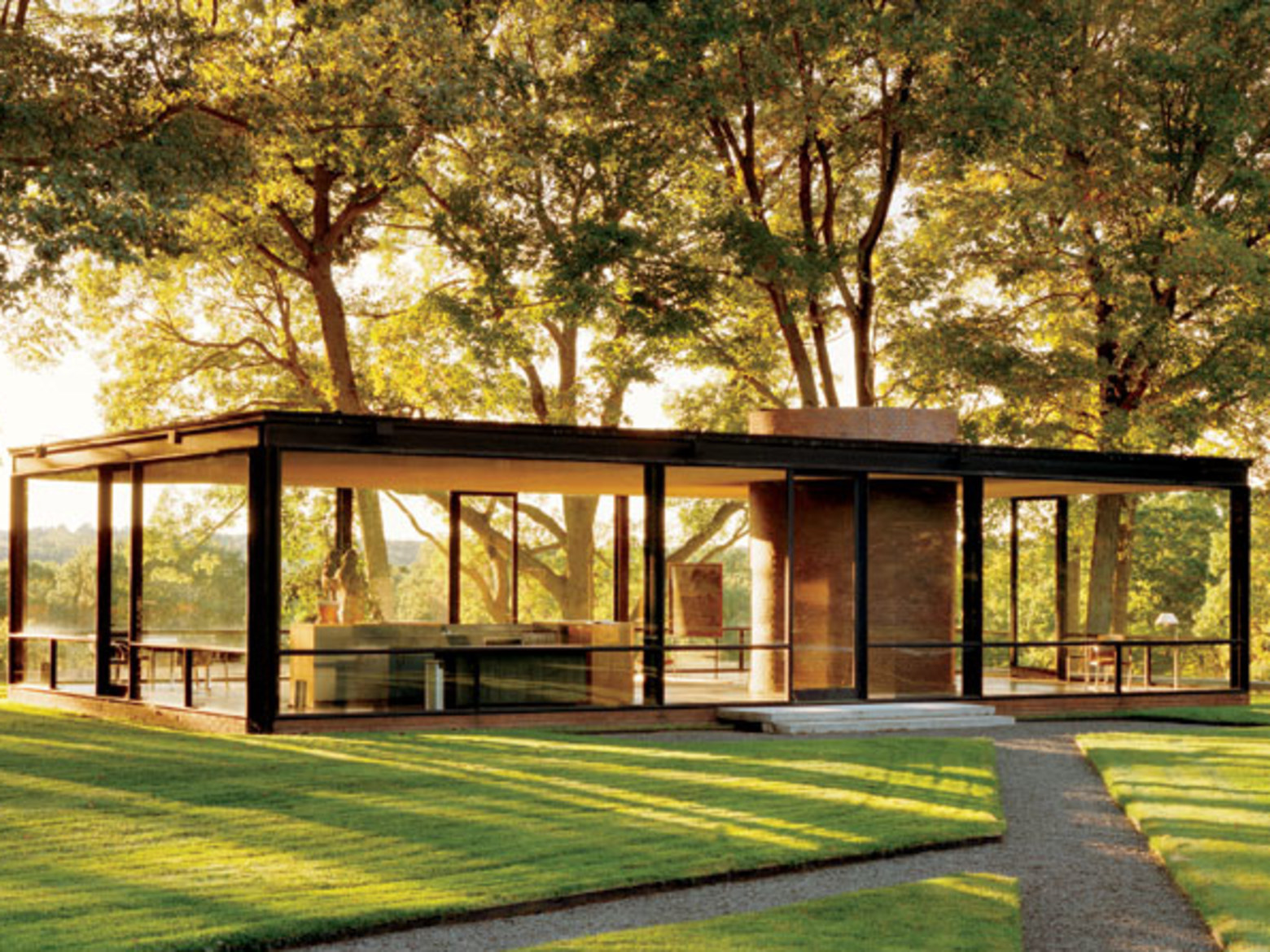 Philip Johnson's Glass House. New Canaan, Connecticut.http://www.llnyc.com/48882-5-modernist-masterpiece-perfect-for-your-dream-wedding