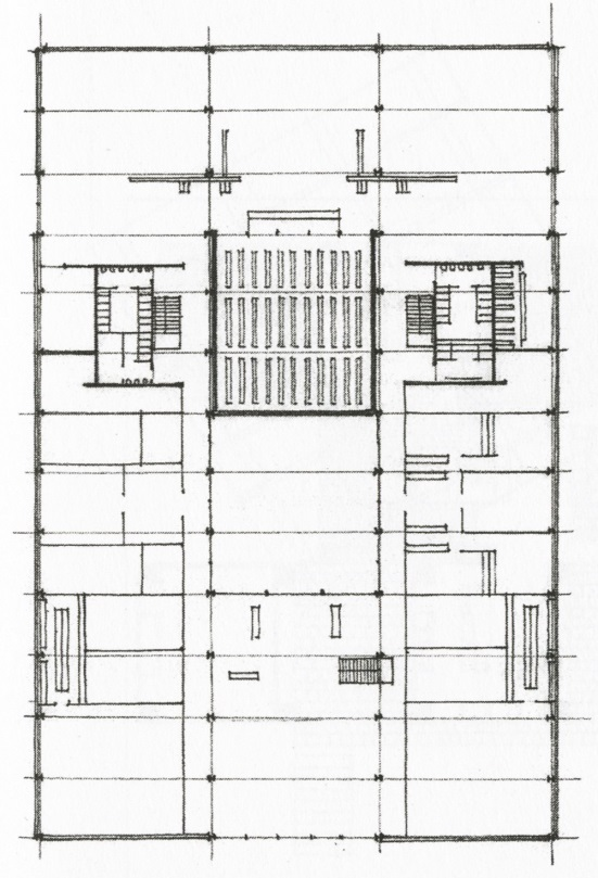 Floor Plan with Structural Grid Expressed. IIT Library by Mies Van der Rohe from Architecture: Form Space and Order