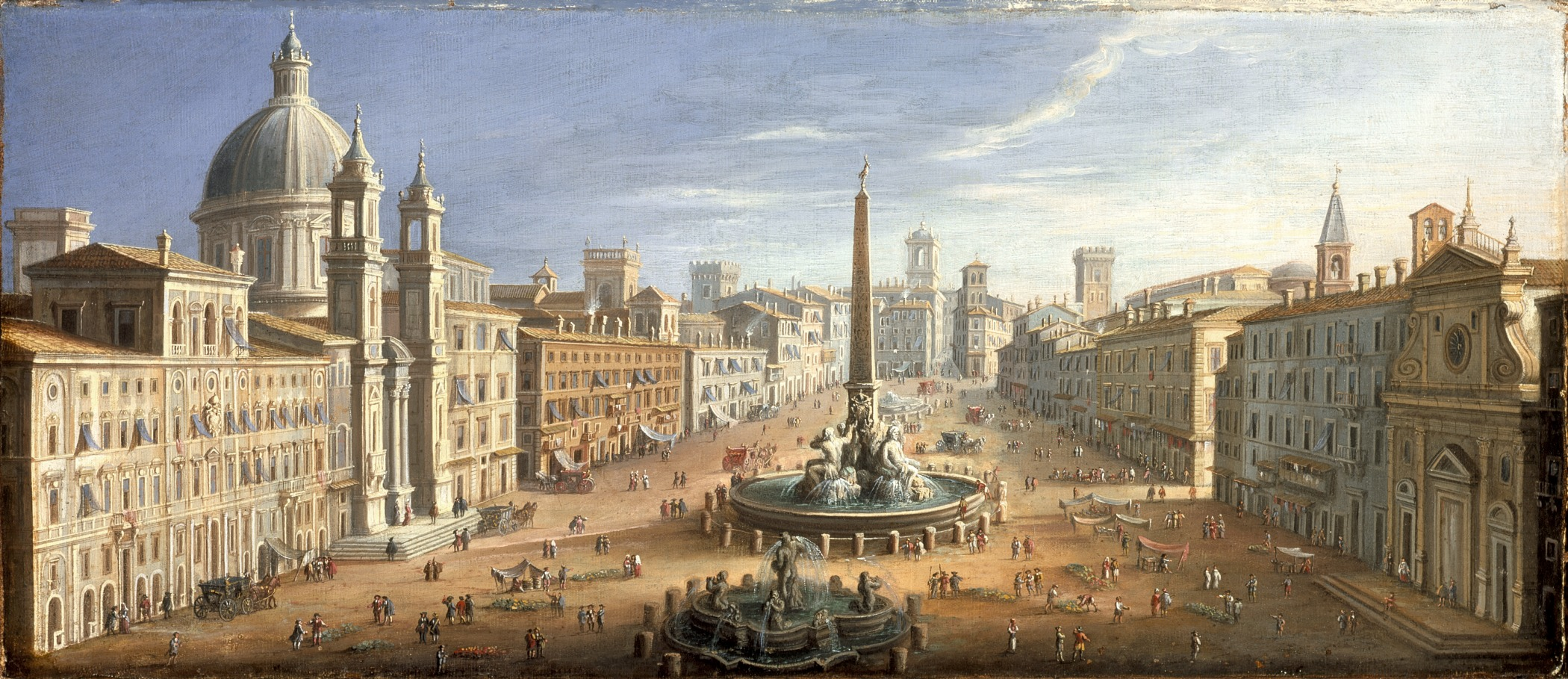 View of Piazza Navona, Rome, Italy, by Hendrik Franz van Lint. c. 1730.