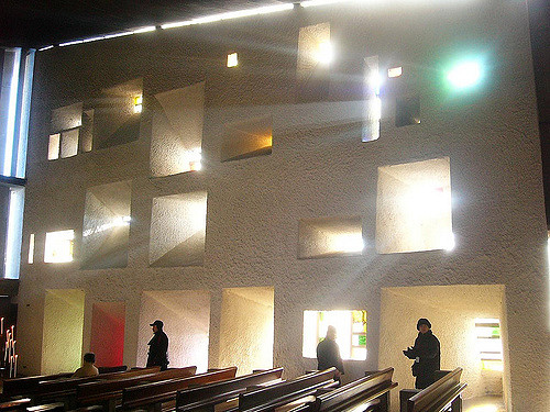Interior of Le Corbusier's Chapel at Ronchamp. https://www.flickr.com/photos/roryrory/2501817294