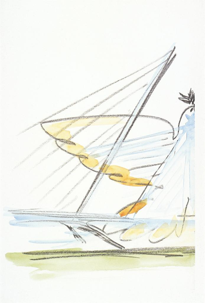 Calatrava, Santiago.  Milwaukee: Milwaukee Art Museum: preliminary sketch . 1994-2001. Drawing, Watercolor?. University of California, San Diego. ARTstore. Web. 04-04-2017.