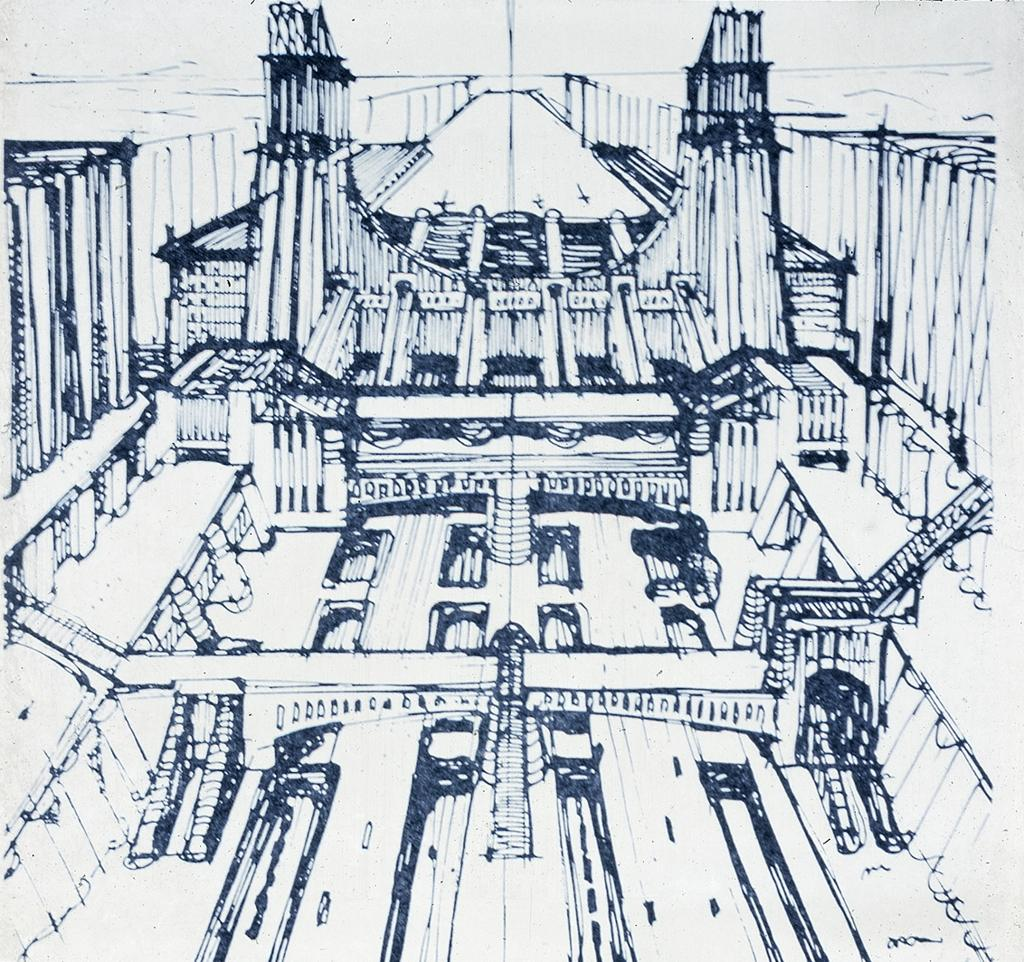 Sant'Elia, Antonio, Milan: Aeroplane Station Sketch rebuilding Milan Central Station. 1912. Drawing. Data From: University of California, San Diego. ARTstore. Web. 04-12-2017.