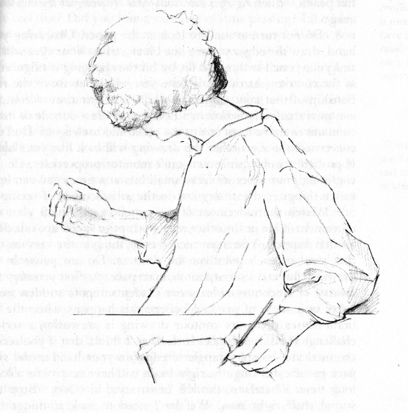 """""""The turned-around drawing position for pure contour drawing"""" from  Drawing on the Right Side of the Brain  by Betty Edwards, p. 85."""