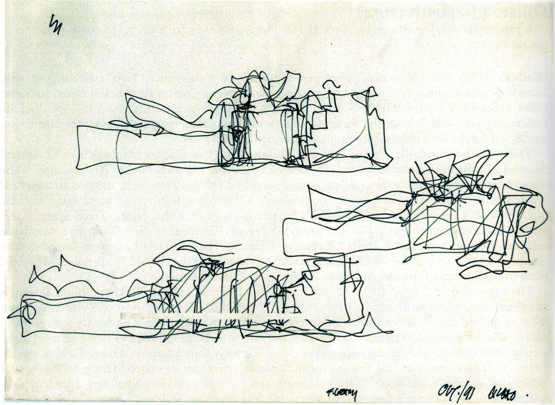 Gehry, Frank.  Process Elevation Sketches . October 1991. Ink on Paper: Guggenheim Museum, Bilbao, Spain. Architects' Drawings: A Selection of Sketches by World Famous Architects Through History . Amsterdam: Elsevier/Architectural, 2005. 226. Print.