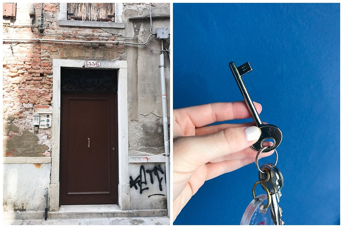 The door on the left was to our air-bnb (up 3 flights of stairs) and on the right was our room key!