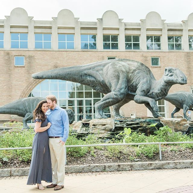 Biggest Jurassic park fans right here! So it was a no-brainer to go by the @fernbankmuseum for Preston and Christina's engagement session. Seriously the best time with these two today!! #howisthismyjob