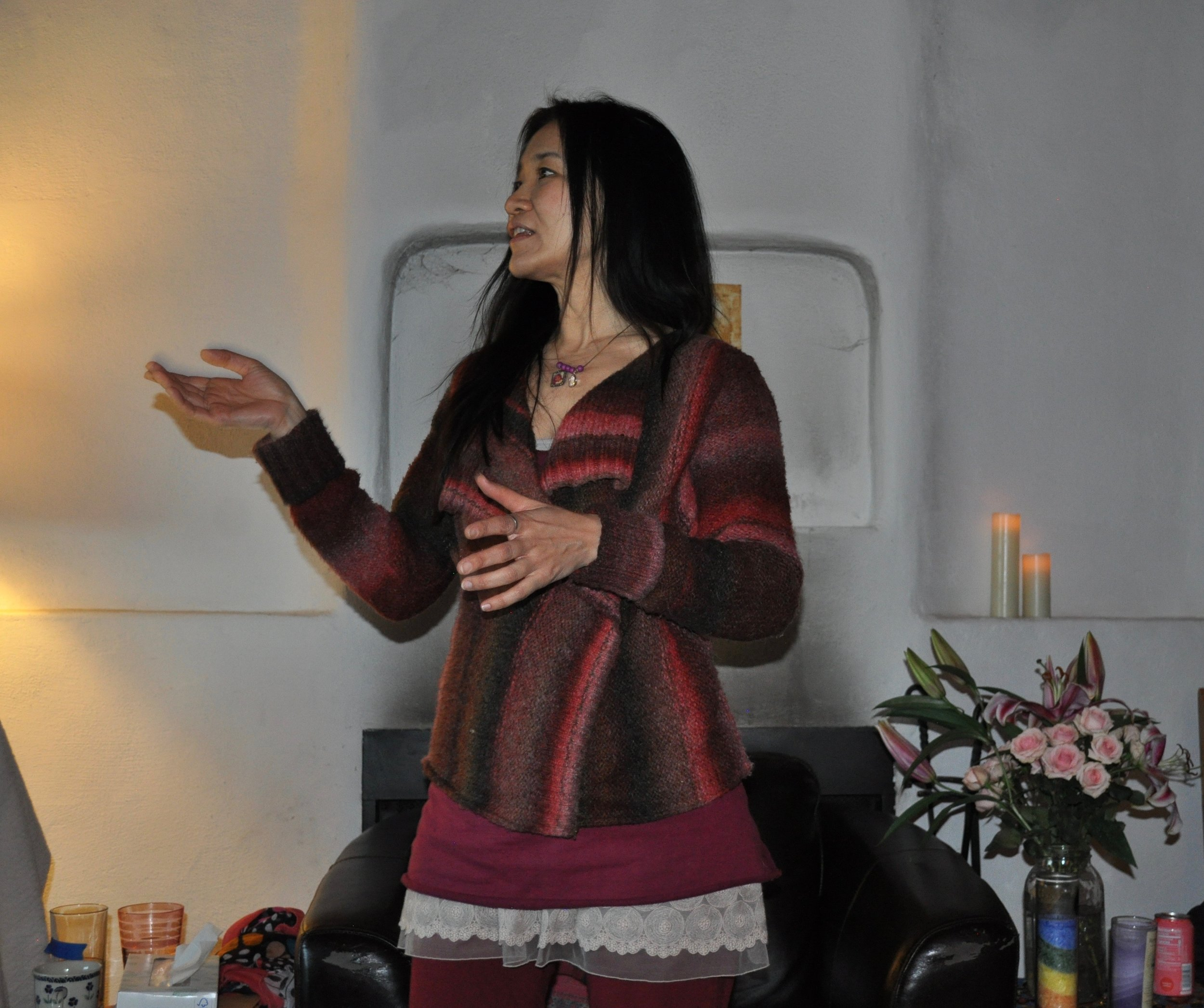 Leading an embodied singing and musical healing session for author Mirabai Starr's retreatants at the Ghost Ranch Retreat Center in New Mexico.