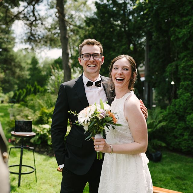 This is what post-ceremony bliss looks like. 😍 Right after walking up the aisle as husband and wife, during an intimate backyard ceremony.