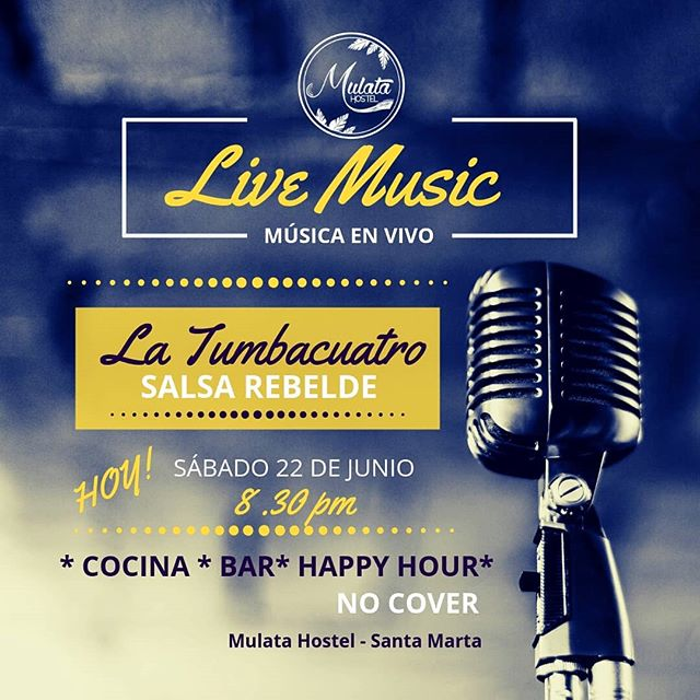Así son nuestros sábados con La Tumbacuatro, salsa rebelde pa' bailar! ¡Invitadísimos! 😉💃Happy hour hasta las 12AM 🍹🍹🍺🍺 ° ° ° ° ° ° ¡Contáctanos! 📞+57 3203644260, +57 (5) 4207305 📩 mulatahostelcolombia@gmail.com ° ° ° ° ° ° ° #salsa #livemusic #musicaenvivo #latumbacuatro #sabado #saturday #salseros #dance #baile #hostels #santamarta #backpacking #hostelife  #chillculturalandfun #tourism #travel #caribbean #destinations #colombianhostels #santamartaiscrazy #samaland #santamartacultural #santamartainforma  #bahia #samaland #turismo #viajes #mochilero  #agendatsantamarta #yovoy
