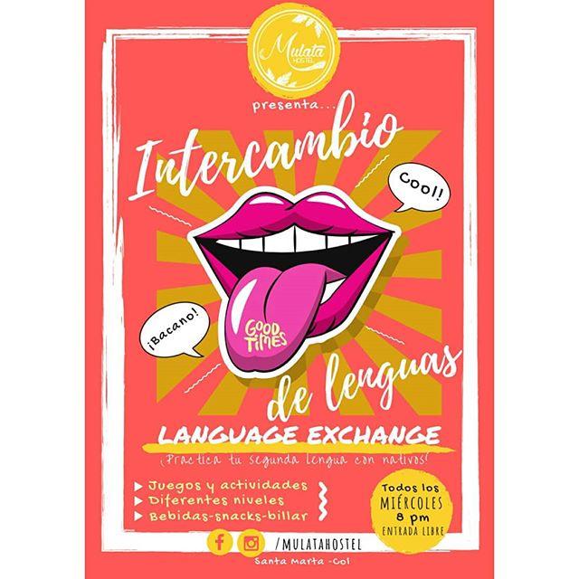 ¡A practicar ese spanglish! Retomamos nuestro #intercambiodelenguas todos los miércoles a las 8 PM, no se lo pierdan! 👅🇪🇸🇬🇧👅