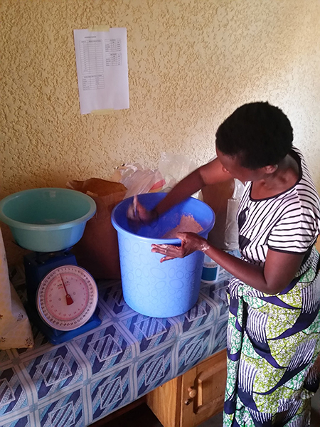 Speciose mixing the igikoma ingredients...and getting a good arm workout at the same time!