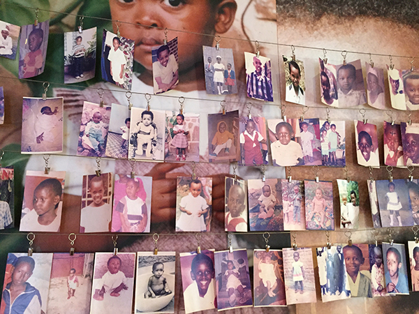 Photos of some of the children who were killed in the Genocide.